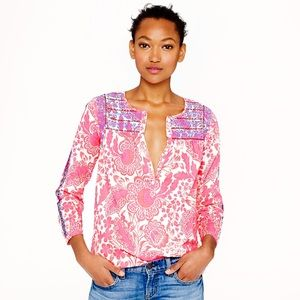 J. Crew Pink Floral Embroidered Top Size 8